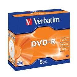 Verbatim DVD-R 16x 4.7 GB Caja 5 Unds