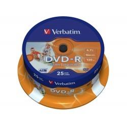 Verbatim DVD-R Printable 16x 4.7 GB Bobina 25 Unds