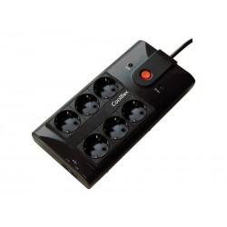Regleta de 6 tomas con 2 puertos USB Coolbox