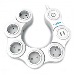 Coolbox Regleta Articulada 5 Tomas + 2 USB